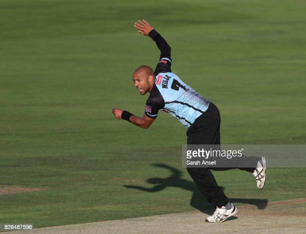 Tymal Mills of Sussex Sharks bowls during the match between Kent Spitfires and Sussex Sharks at The Spitfire Ground on August 4 2017 in Canterbury...