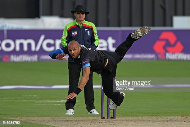 Tymal Mills of Sussex tumbles at the end of his delivery stride during the NatWest T20 Blast match between Kent and Sussex at The Spitfire Ground on...