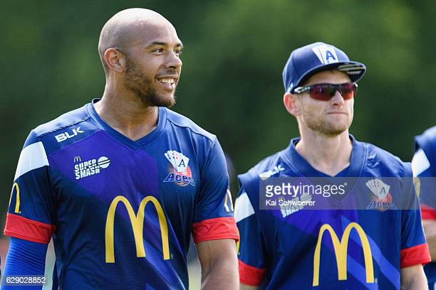 Tymal Mills of the Aces looks on during the Super Smash Twenty20 match between the Canterbury kings and the Auckland Aces at Hagley Oval on December...
