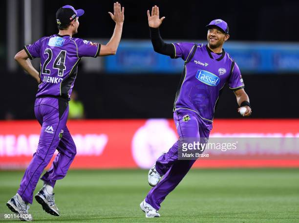 Tymal Mills of the Hobart Hurricanes celebrates catching Alex Carey of the Adelaide Strikers during the Big Bash League match between the Hobart...
