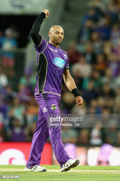 Tymal Mills of the Hobart Hurricanes celebrates the wicket of Jordan Silk of the Sydney Sixers during the Big Bash League match between the Hobart...