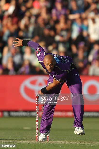 Tymal Mills of the Hurricanes bowls during the Big Bash League match between the Hobart Hurricanes and the Sydney Thunder at University of Tasmania...