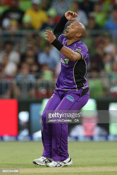 Tymal Mills of the Hurricanes reacts during the Big Bash League match between the Sydney Thunder and the Hobart Hurricanes at Spotless Stadium on...