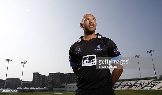 Tymal Mills poses for a portrait during the Sussex County Cricket Photocall at BrightonandHoveJobs.com County Ground on April 9, 2015 in Hove,...