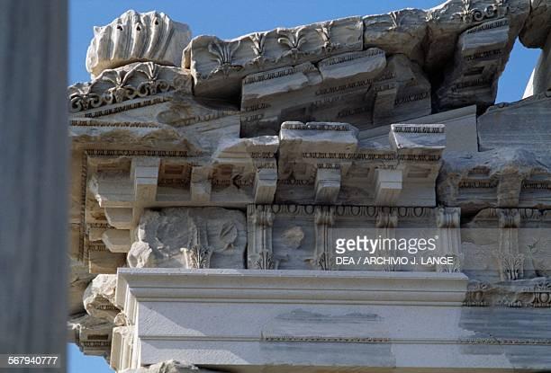 Tympanum and entablature of the Temple of Trajan or Trajaneum 120125 AD Pergamon Turkey Roman civilisation 2nd century AD Detail