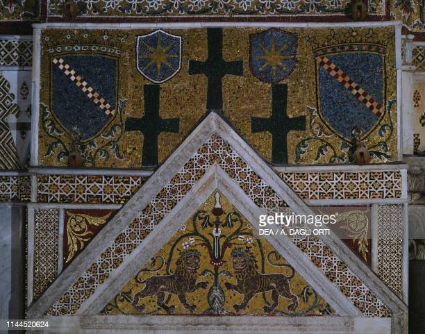 Tympanum of the Royal Throne with lions and Altavilla family coats of arms 12thcentury mosaic Monreale cathedral Monreale Sicily Italy