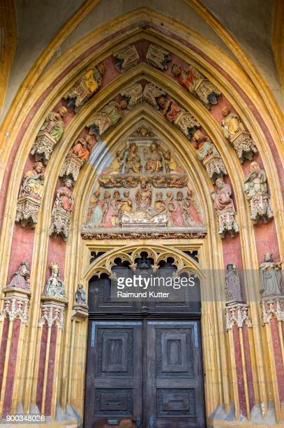 Tympanum with colorful painted sacred figures, portal of the gothic cathedral St. Salvator or St. Willibald, Eichstaett, Oberbayern, Bavaria, Germany