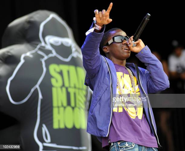 Tynchy Stryder performs as the opening act on the Pyramid stage during day three of the Glastonbury Festival at Worthy Farm on June 26 2010 in...