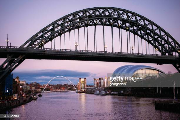 tyne bridge in newcastle, england at dusk - newcastle upon tyne stock pictures, royalty-free photos & images
