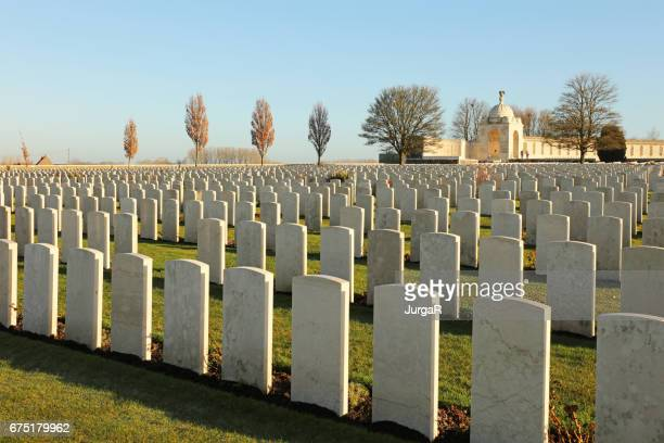 tyne cot wwi memorial cemetery - flanders fields belgium - world war i stock pictures, royalty-free photos & images