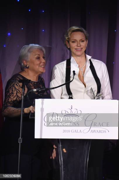 Tyne Daly and HSH Princess Charlene of Monaco appear on stage during 2018 Princess Grace Awards Gala at Cipriani 25 Broadway on October 16 2018 in...