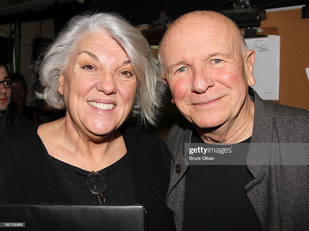 Tyne Daly and Terrence McNally pose backstage at 'Ragtime' on Broadway at Avery Fisher Hall on February 18, 2013 in New York City.