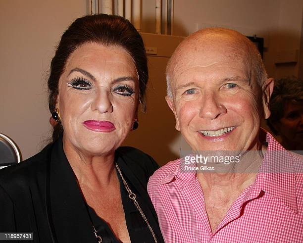 Tyne Daly as Maria Callas and Playwright Terrence McNally pose backstage at the hit play Master Class on Broadway at The Samuel J Friedman Theatre on...