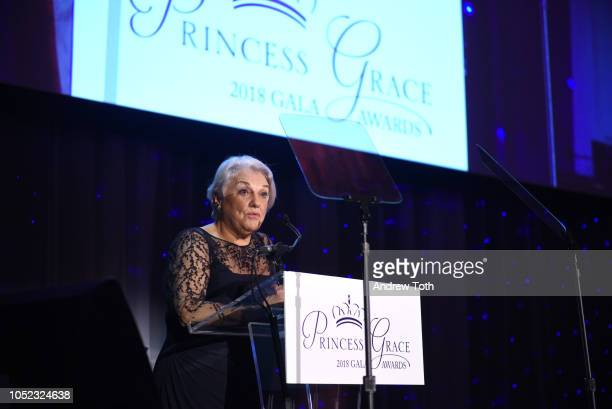 Tyne Daly speaks on stage during the 2018 Princess Grace Awards Gala at Cipriani 25 Broadway on October 16 2018 in New York City