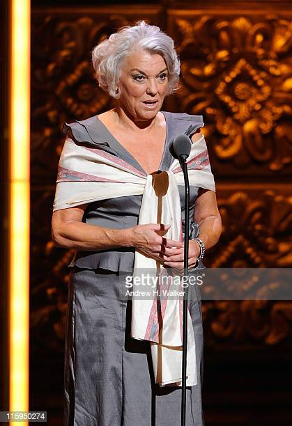 Tyne Daly speaks on stage during the 65th Annual Tony Awards at the Beacon Theatre on June 12 2011 in New York City