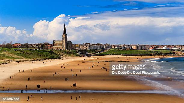 tynemouth longsands - northeastern england stock photos and pictures