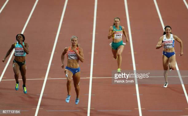 Tynia Gaither of the Bahamas, Dafne Schippers of the Netherlands, Riley Day of Australia and Maria Belimpasaki of Greece compete in the Women's 200...