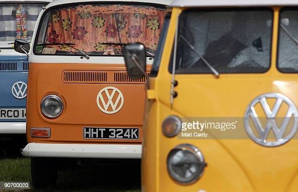 Type 2 Volkswagen vans are lined up for display at the 2009 Vanfest at the Three Counties Showground on September 13 2009 in Malvern Wells England...