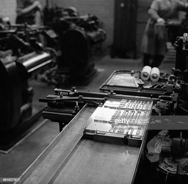 Type being set at the White Rose Press Mexborough South Yorkshire 1968 Movable type being set on a monotype caster