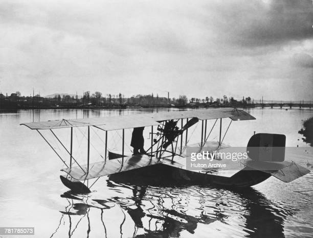 Type C reconnaissance biplane flying boat of the Italian Regia Marina at a naval base near Venice circa April 1917