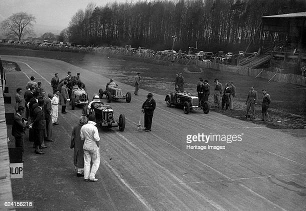 MG Q type FrazerNash Shelsley and Bugatti Type 51 on the starting grid at Donington Park 1930s Artist Bill BrunellLeft of centre MG Q 746S cc Entry...