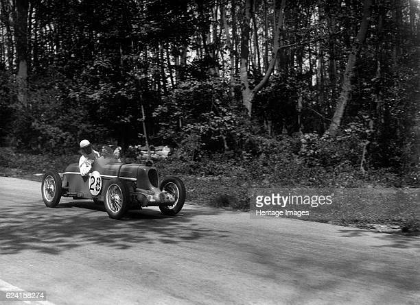 MG Q type of Kenneth Evans racing at Donington Park Leicestershire 1935 Artist Bill BrunellMG Q 746S cc Event Entry No 28 Driver Evans KD Place...