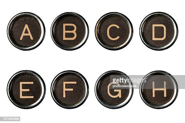 type writer keys alphabet with clipping paths - group e stockfoto's en -beelden