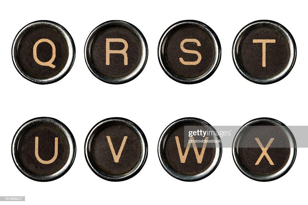 Schreibmaschine Schlüssel alphabet mit Schneidepfaden : Stock-Foto