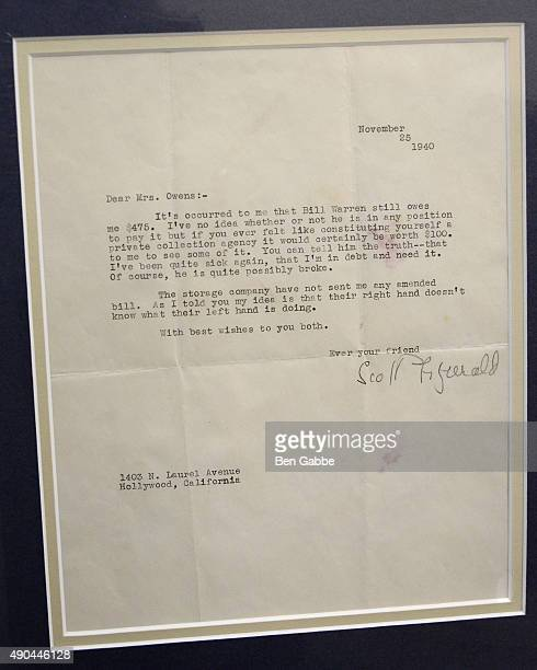 Typed letter signed by F Scott Fitzgerald one month before his death with a portrait at the Rare Titanic Artifacts from Lifeboat No 1 Other Historic...