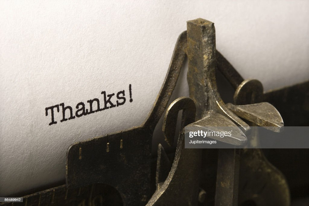 Typed word thanks : Stock Photo