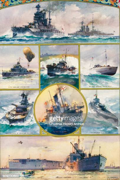 Types of British warships brought into being by the Great War From top left to right Queen Elizabeth and her dummy replica patrol boat and kite...