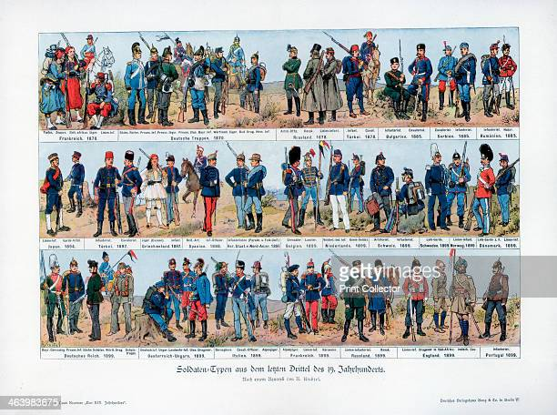 Types of soldiers from the end of the 19th century 1900 Illustrations of uniforms from various different countries