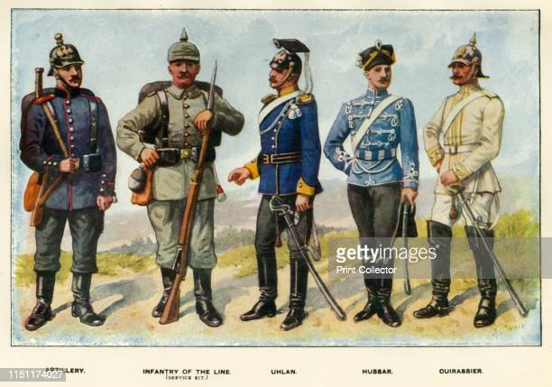 Types of the German Army', 1919. Soldiers serving during the First World War, 1914-1919: Artillery, Infantry of the Line , Uhlan, Hussar, Cuirassier....
