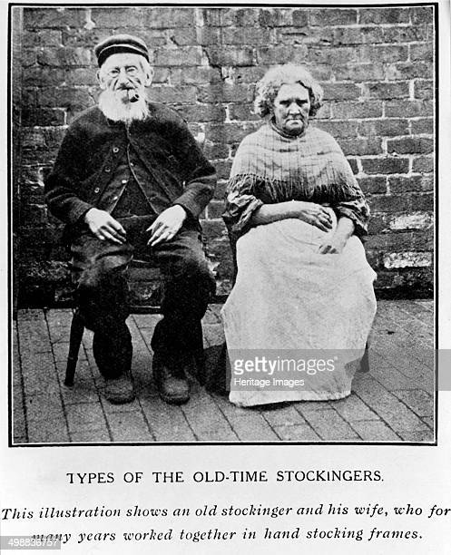 'Types of the OldTime Stockingers' c1890s Husband and wife frameworkknitters This picture was printed in Framework Knitting and Hosiery Manufacture...