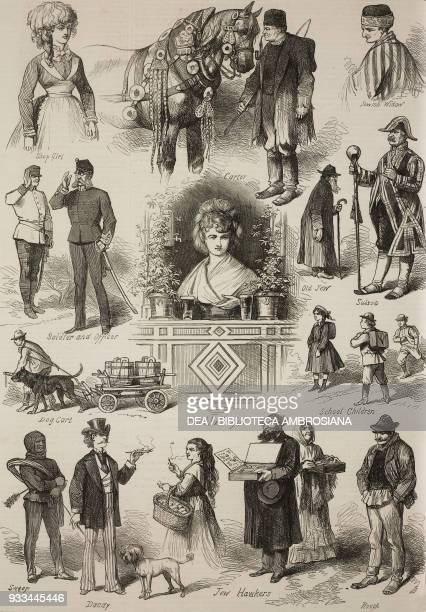 shop girl carter with horse Jewish widow soldier and officer old Jew Drum major dog with cart girl in a kiosk school children sweep dandy Jew hawkers...