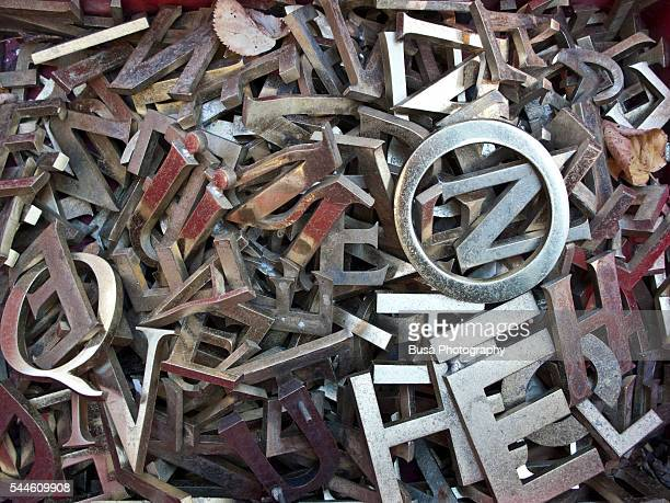typescript metal letters - single word stock pictures, royalty-free photos & images