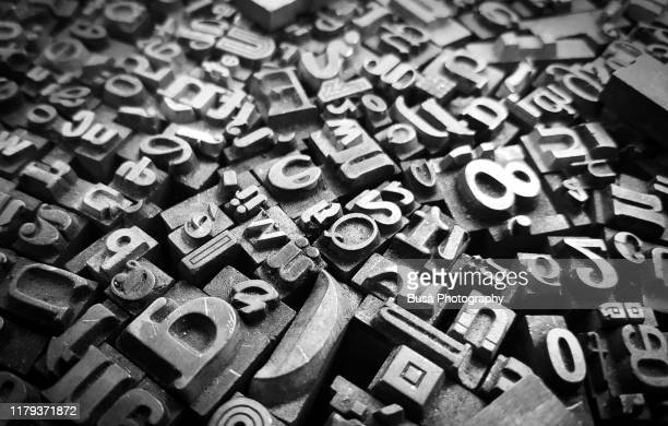 typescript metal letters seen in a flea market - learning disability stock pictures, royalty-free photos & images