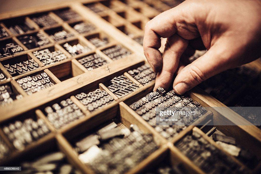 Typesetting for Letterpress Printing : Stock Photo