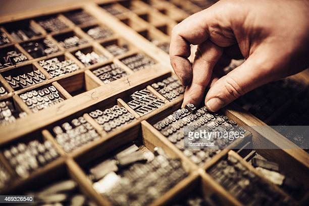 typesetting for letterpress printing - font stock pictures, royalty-free photos & images