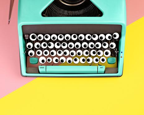 Typewriter with googly eyes for keys - gettyimageskorea