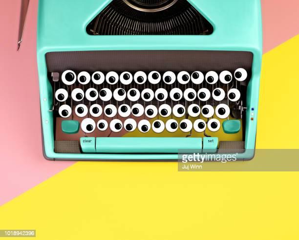 Typewriter with googly eyes for keys