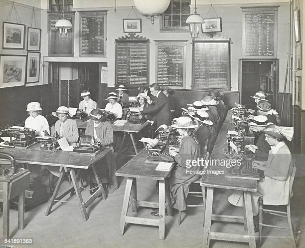 Typewriting class for women Blackheath Road Evening Institute London 1914 Artist unknown