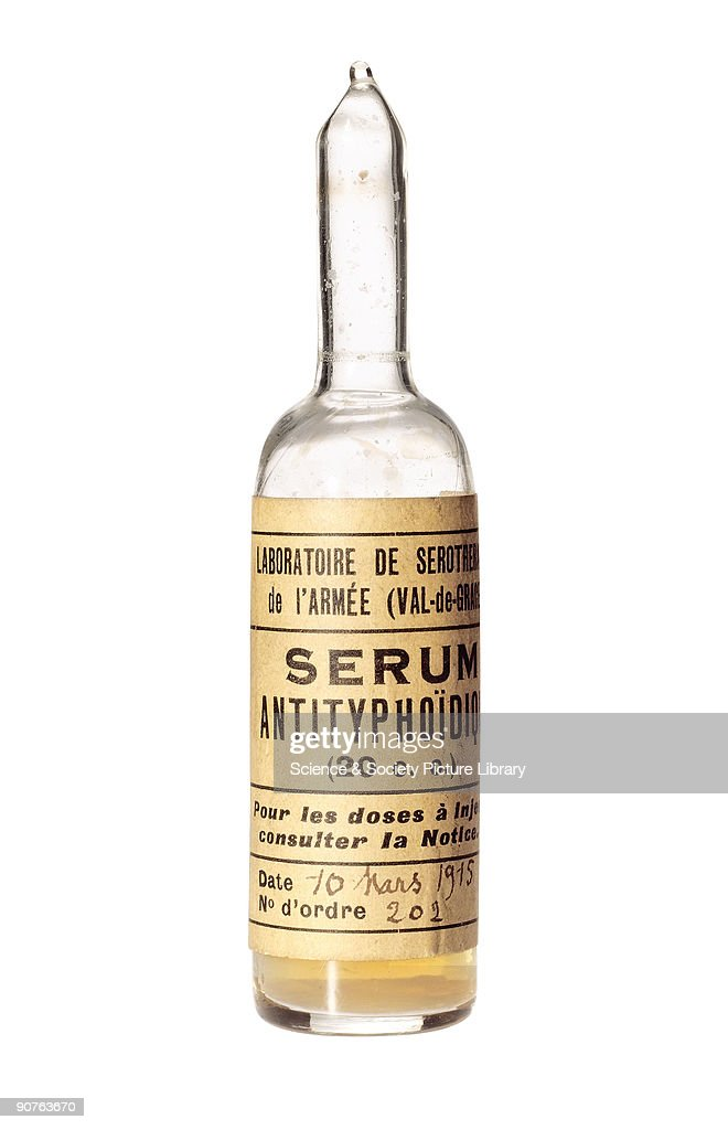 Ampoule of typhoid serum, 1915. : News Photo