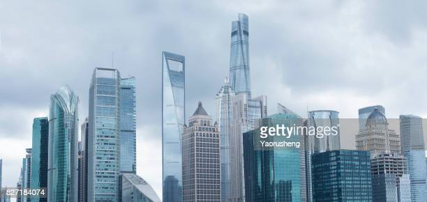typhoon approaching shanghai city,buildings located at Pudong  lujiazui financial center