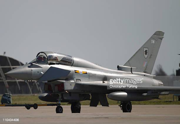 Typhoon Euro Fighters are prepared to implement the Libya no fly zone at RAF Coningsby on March 18 2011 in Coningsby United Kingdom UK defence forces...