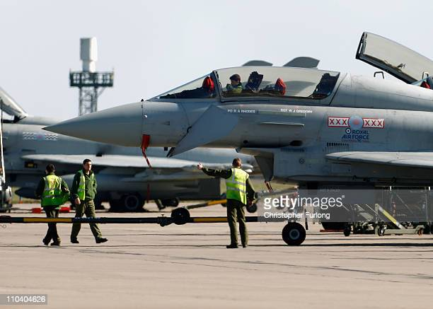 Typhoon Euro Fighters are prepared to implement the Libya no fly zone at RAF Coningsby on March 18, 2011 in Coningsby, United Kingdom. UK defence...