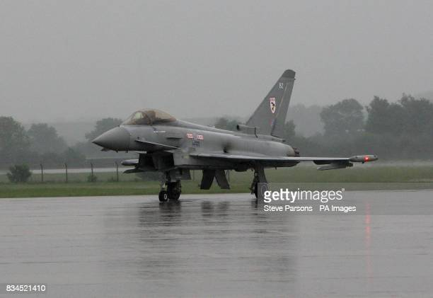 Typhoon lands at the Launch of Royal International Air Tattoo at RAF Fairford Gloustershire