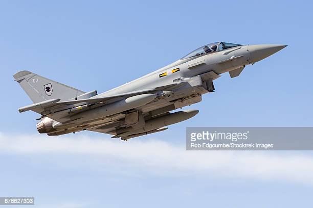 A Typhoon of the Royal Air Force climbs away from Nellis Air Force Base, Nevada.