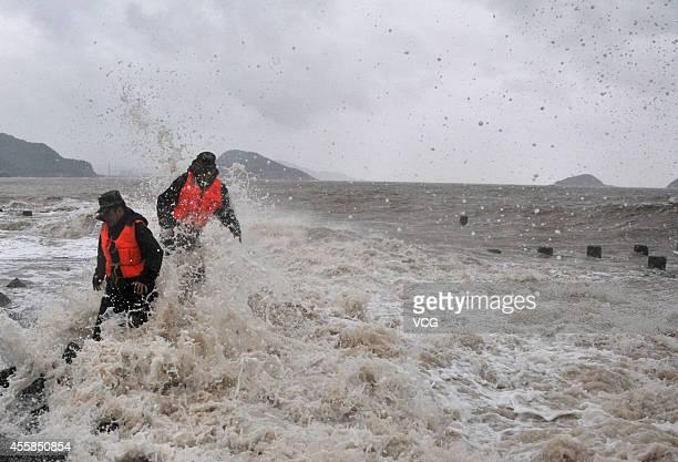 Typhoon 'Phoenix' draws near on September 21 2014 in Taizhou Zhejiang province of China Typhoon 'Phoenix' will hit Zhejiang on Monday