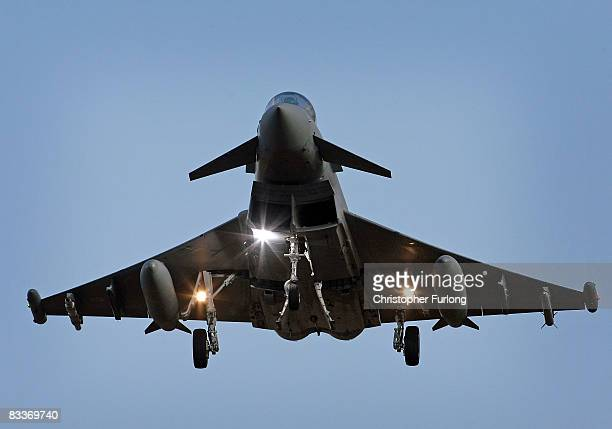 Typhoon Tranche type 1 fighter jet prepares to land at RAF Coningsby, on October 21, 2008 in Lincolnshire, England. The existing squadrons were today...